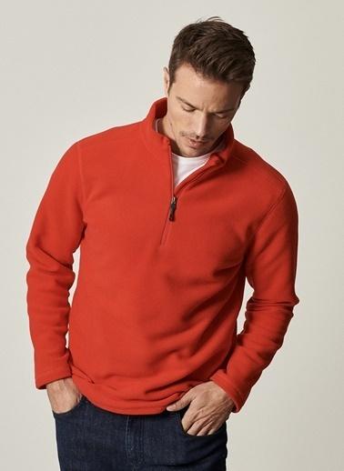 AC&Co / Altınyıldız Classics Standart Fit Günlük Rahat Fermuarlı Bato Yaka Spor Polar Sweatshirt 4A5221100016 Kırmızı